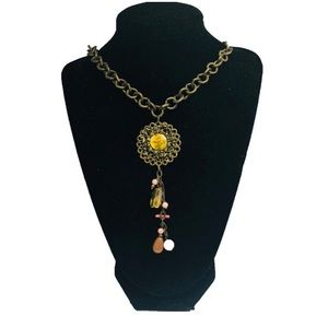 Brass flower chain beaded necklace